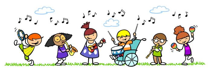 Gruppe Kinder mit Musikinstrumenten