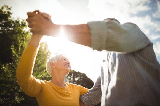 Senior couple dancing in park