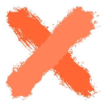 Orange criss cross brushstroke delete sign