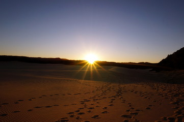 Sunset over the sand dunes at Fraser Island
