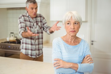 Senior couple quarrelling with each other