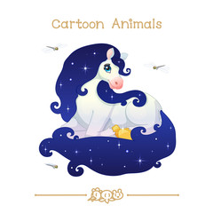 Toons series cartoon animals: white starry mare