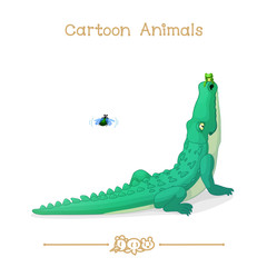 Toons series cartoon animals: Beetle, frog and green alligator