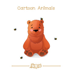 Toons series cartoon animals: bear and bees