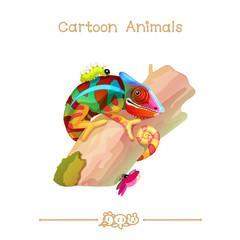 Toons series cartoon animals: colorful chameleon on tree