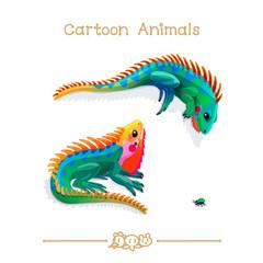 Toons series cartoon animals: multicolored iguanas and bug