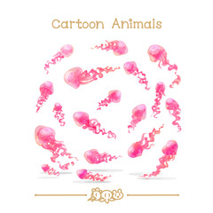Toons series cartoon animals: jellyfishes set