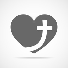 Heart with Christian cross. Vector illustration.