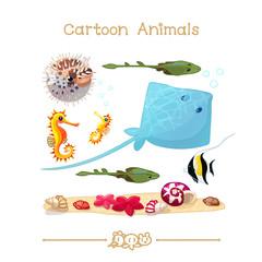 Toons series cartoon animals: marine life