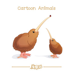 Toons series cartoon animals: kiwi birds