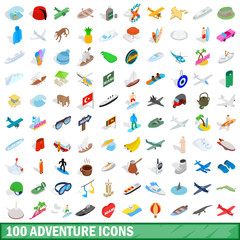 100 adventure icons set, isometric 3d style