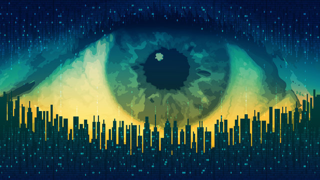 Big brother - concept electronic all-seeing eye, the technology of global surveillance