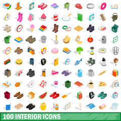 100 interior icons set, isometric 3d style