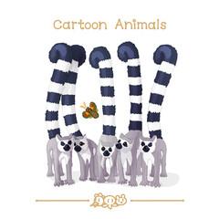 Toons series cartoon animals: group of funny lemurs