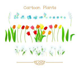 Plantae series cartoon plants: Spring tulips flowers set