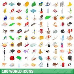 100 world icons set, isometric 3d style