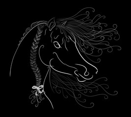 The horse's head with a fluffy mane and bright oblique painted graceful lines with swirls