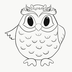 Children's Coloring funny owl girl