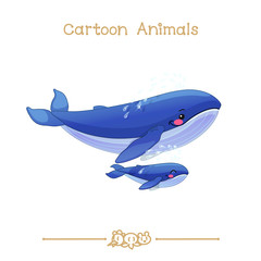 Toons series cartoon animals: whales family