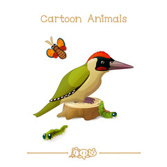 Toons series cartoon animals: green woodpecker