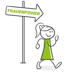 Stick Figure Series Green Woman / Frauenpower