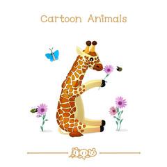 Toons series cartoon animals: sitting baby giraffe