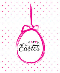 Vector Happy Easter text in pink brush painted easter egg for Paschal greeting card.