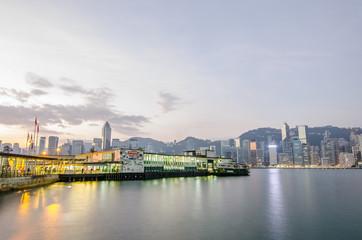 Hong Kong,Tsim Sha Tsui Passenger ship and pier in Victoria harbor,Hong Kong,China.