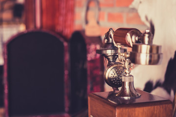 Vintage of  telephone on the counter.