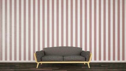 Wand mit Tapete und Sofa davor