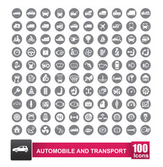 100 icons set of auto transport and logistic isolated on white background vector illustration eps 10 002