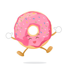 Donut cartoon jumping with happiness isolated on white background vector eps10