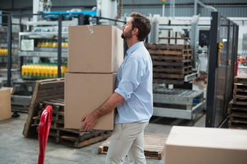 Factory worker carrying cardboard boxes in factory