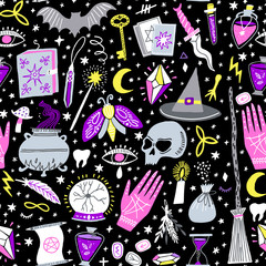 Vector magic witch seamless pattern. Witchcraft