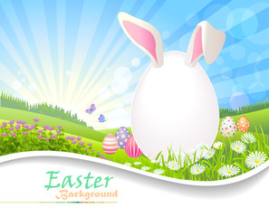 Easter egg bunny on a lush green spring fields. Vector Illustration