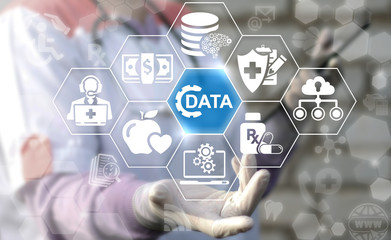 Big Data Healthcare concept. Doctor or nurse offer data cogwheel icon on virtual screen. Information technology computing medicine integration. Medical database, cloud server, web technology.