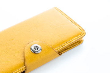 Yellow leather wallet  on white background.