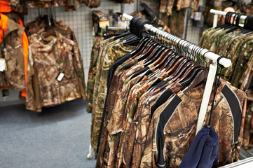 Fotobehang Jacht Clothes for hunting and fishing in store