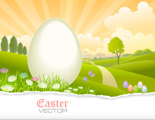 Easter eggs, meadows, flowers, grass, forest and a road to your destination. Vector Illustration