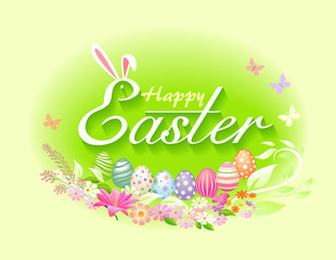 Easter celebration in spring time with easter eggs, flowers and butterflies. Vector Illustration