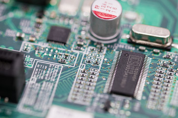 macro shot of circuit board