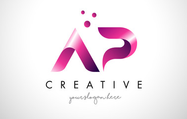 AP Letter Logo Design with Purple Colors and Dots