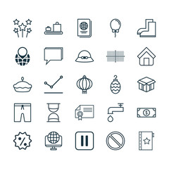 Set Of 25 Universal Editable Icons. Can Be Used For Web, Mobile And App Design. Includes Elements Such As Gardening Shoes, Mute Song, Pointed Line Graph And More.