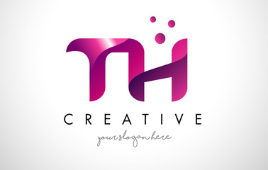 TH Letter Logo Design with Purple Colors and Dots