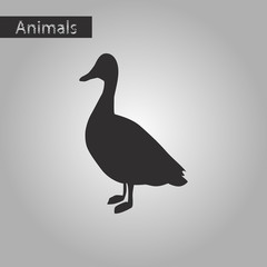 black and white style icon of wild duck