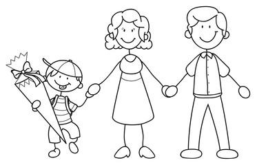 Junge mit seinen Eltern bei der Einschulung Vektor Illustration