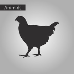 black and white style icon of hen