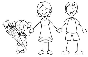 Mädchen mit ihren Eltern bei der Einschulung Vektor Illustration