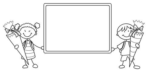 Zwei Schulkinder halten eine leere Tafel Vektor Illustration