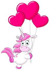 Niedliches Einhorn mit Herzballons Vektor Illustration
